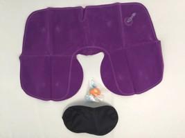 Neck Travel Pillow 3 Piece Set Ear Plugs Eye Mask Lavender Purple Lightw... - $11.75