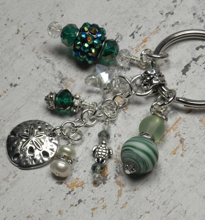 Primary image for Sand Dollar Beach Crystal Glass Beaded Handmade Keychain Split Key Ring Green