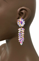 "3.75"" Long Clip On Earrings Aurora Borealis Rhinestones Drag Queen Pageant  - $19.95"