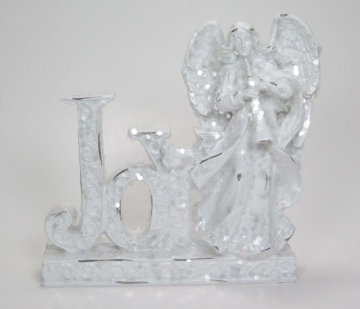 "Primary image for 7""  White Glitter Joy Sign with Angel Christmas Holiday Tabletop Decor"