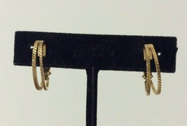 Vtg Napier Gold-Tone Textured Hoop Screw-Back Clip-On Earrings - $12.86
