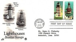 April 26, 1990 First Day of Issue, Postal Society Cover, Lighthouses, Sh... - $1.09