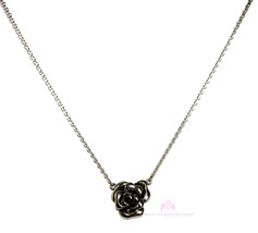 "Womens Ladies 18"" Stainless Steel Chain Rose of Sharon Pendant Necklace  - $27.50"