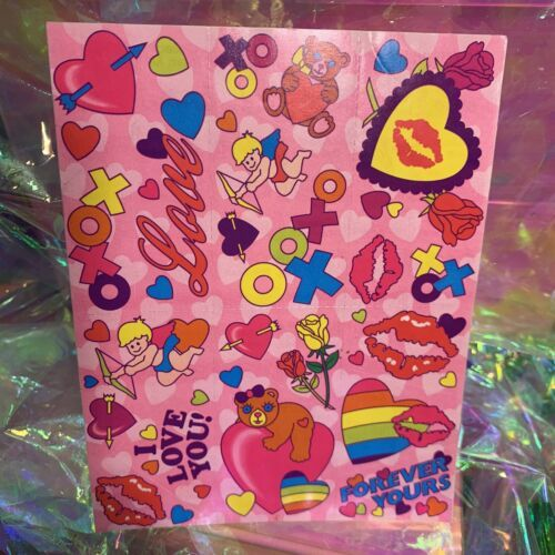 Complete Mint Lisa Frank Vintage Sticker Sheet S134 Valentine's XOXO Cupid LoveU