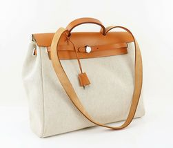 Auth HERMES Her Bag 2 in 1 Beige Canvas and Leather Hand Shoulder Bag #31320 image 3