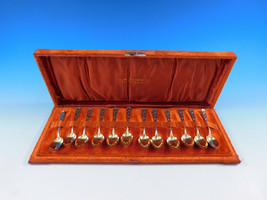 Berry by Whiting Sterling Set 12 Demitasse Spoons in Fitted Box Gold-washed - $695.00