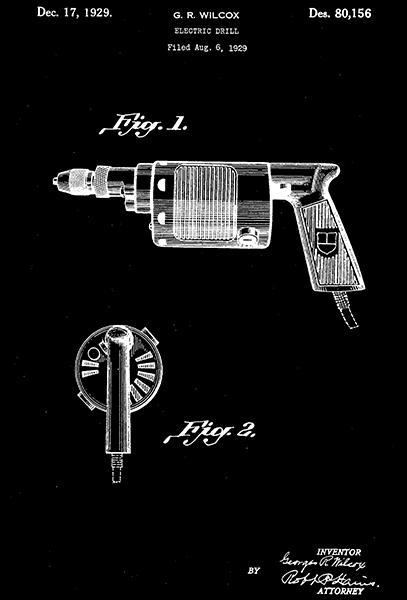 Primary image for 1929 - Electric Drill - G. R. Wilcox - Patent Art Poster