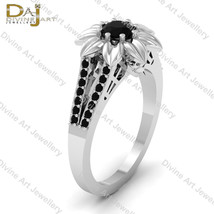 Solid 18k White Gold Black Diamond Skull Gothic Flower Petal Engagement ... - $979.99