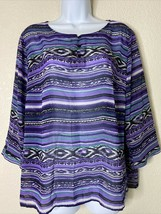 Chico's Women Size 2 Purple Striped Sheer Blouse 3/4 Sleeve Casual  - $14.57