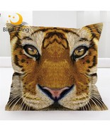BlessLiving 3D Tiger Face Decorative Throw Pillow Cover Vivid Colored Bi... - €10,08 EUR