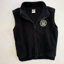 Gymboree Boys Size 5/6 Black Fleece Vest with Railroad Patch - $9.64