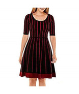 New Danny & Nicole Women's Fit & Flare Sweater Dress Black-Ruby Size PL - $45.18