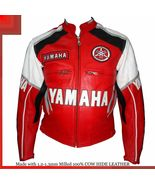 YAMAHA RED AND WHITE REAL COWHIDE MOTORCYCLE LEATHER JACKET - $135.00
