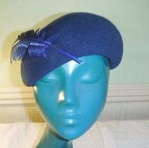 PHILIP SOMERVILLE VINTAGE STRUCTURED BERET HAT VERY CHIC NAVY BLUE FELT... - $36.15