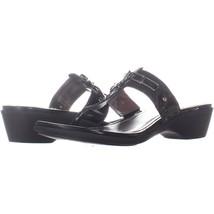 Marc Fisher Amina2 Thong Flip Flop Sandals 087, Black Multi, 8.5 US - $28.79