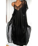 Bridal Black Long Nightgown & Robe Set M Chiffon Peignoir Nylon Lace - $34.95