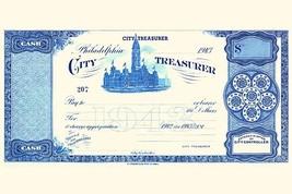 Philadelphia City Treasurer Cheque by E.A. Wright Bank Note Company - Ar... - $19.99+