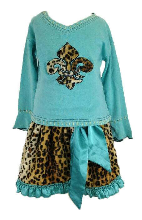 5 Authentic Trish Scully Leopard Faux Fur Skirt Teal Satin Trim Fleur De Lis Top