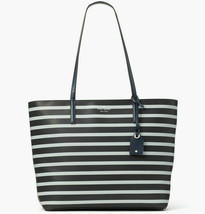 NWT Kate Spade Janie Striped Smooth Leather Medium Tote WKRU6264 $329 Blue Navy - $124.80