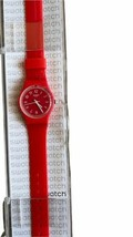 NOS SWATCH Women Red Pretty Sexy Red Dial Red Silicone Ladies Watch LR127 Case image 1