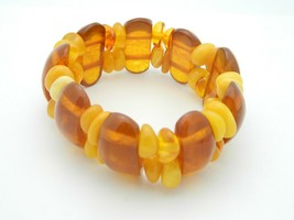 Chunky Baltic Amber Bead Beaded Stretch Bracelet Vintage - $79.19
