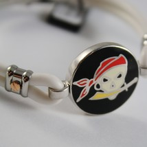 18K ROSE GOLD 925 SILVER WHITE SILICON WITH PIRATE ZANCAN BRACELET MADE IN ITALY image 2