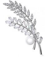 Hanie Flower Leaf Brooch Pearl Pin Silver Tone White Round Rectangular A... - $53.21
