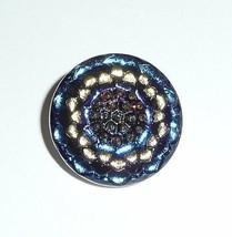 Pretty Daisy Flower Czech Glass Button Blue & Lilac Vitral w/ Gold Clr F... - $5.44