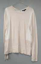 Ann Taylor Womens Sweater Size L Beige White Wool Blend Back Button Pull... - $19.97