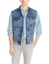 Levi's Strauss Men's Premium Cotton Button Up Denim Jeans Trucker Vest image 4