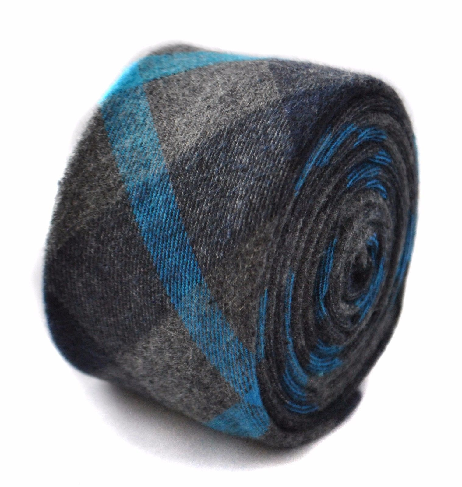 Frederick Thomas Uomo Tweed DI LANA CRAVATTA IN GRIGIE CON blu a scacchi ft1814
