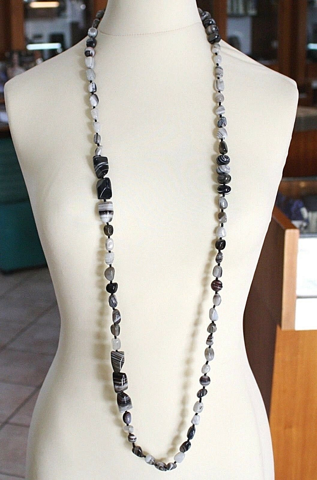 Long Necklace 120 cm, 1.2 Metres, White Agate Black Grey Banded