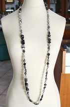 Long Necklace 120 cm, 1.2 Metres, White Agate Black Grey Banded image 1