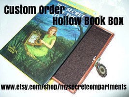 Hollow Book Box Custom Order, Hollow Out Book, Secret Compartment Wood D... - $50.00