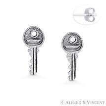 Antique Finish Rustic Door Key Charm .925 Sterling Silver Ladies' Stud Earrings - $14.69
