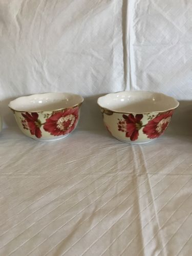 """222 Fifth GABRIELLE SPRING BLUE Soup Cereal Bowl Round 5 3//4/""""  Paisley SET 4 NEW"""