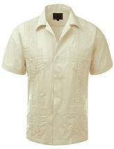 Guayabera Men's Cuban Beach Wedding Button-Up Casual Off White Dress Shirt - S
