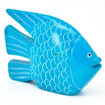 "Hand Carved Gusii Soapstone Bright Blue Fish 4.25"" Sculpture Figurine Made Kenya image 1"