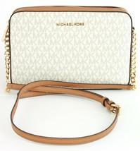 Michael Kors Vanilla Acorn PVC & Leather Cross Body Bag Monogram Handbag - $277.70
