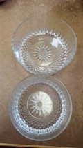 "2 pieces Vintage Arcoroc France Clear Glass Salad Bowl 9"" Serving Bowl 7... - $17.64"