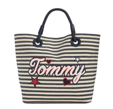 TOMMY HILFIGER NWT  XLarge Tote Summer Navy Blue Canvas Signature TOMMY - $67.32