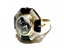 BIG Reverse Intaglio Essex Crystal with Diamonds Dog 14k gold Ring - $3,439.00