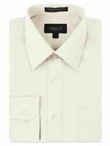 Omega Italy Men's Long Sleeve Solid Barrel Cuff Ivory Button Up Dress Shirt