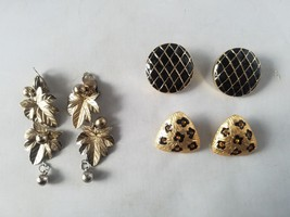 Vintage Fashion Earrings Gold Tone 3 Pairs Costume Retro Mod - $23.24