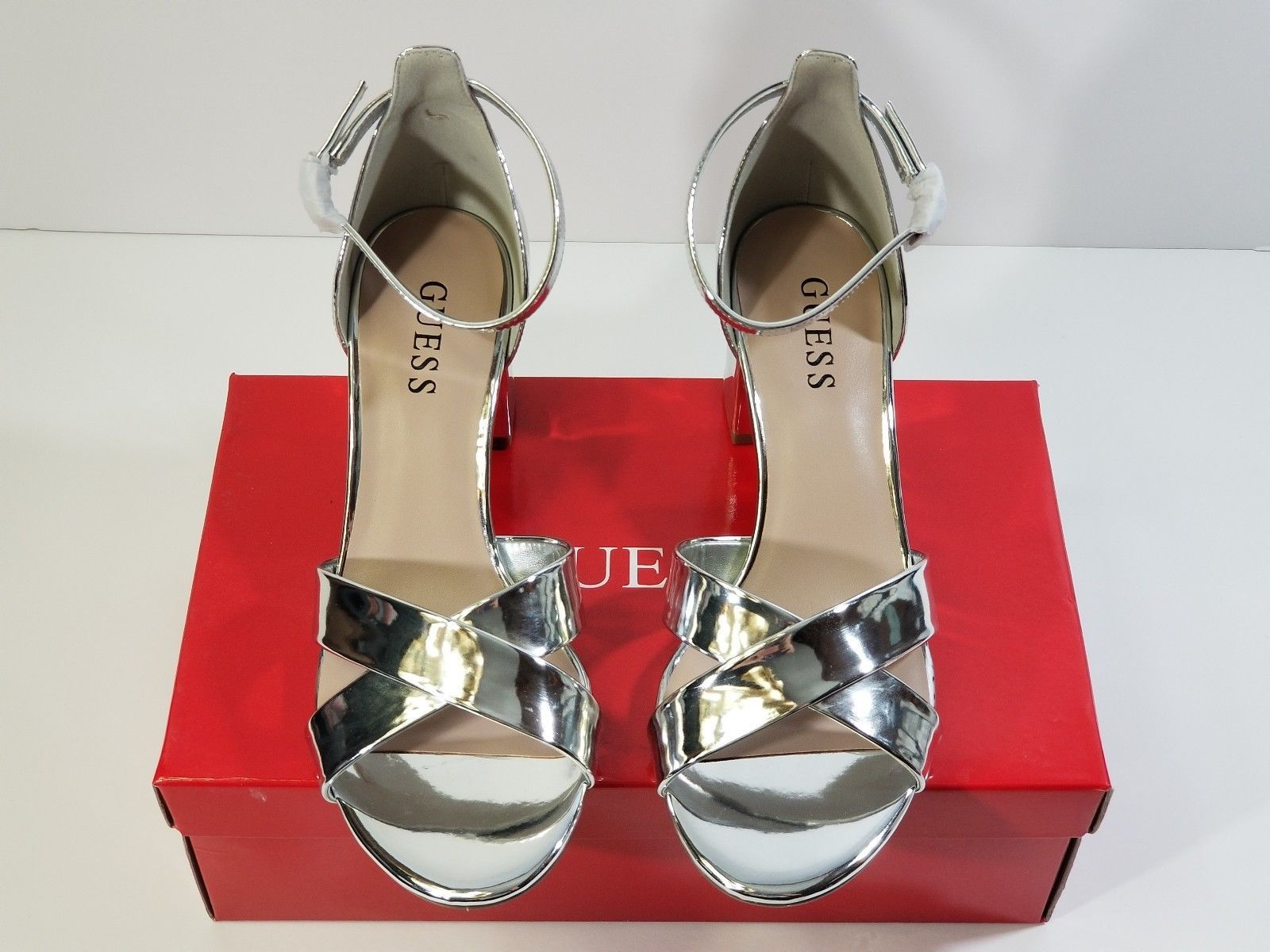 GUESS Silver CrissCross Chunky Heels Mirrored Ankle Strap NIB Size 7.5M  GFJOLIE - $50.79