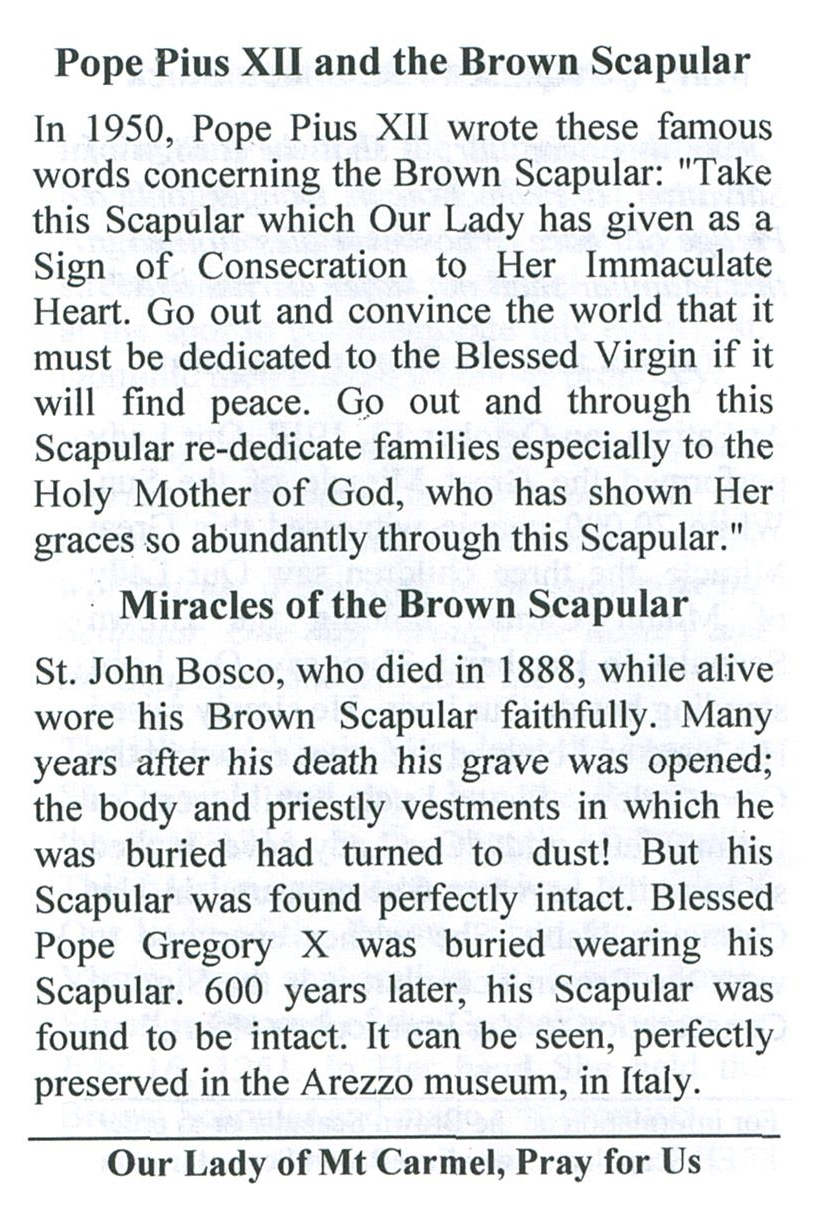 Brown Scapular of Our Lady of Mount Carmel with Pamphlet - 100% WOOL image 6