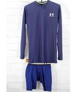 UNDER ARMOUR Set HeatGear Long Sleeve Shirt + Underwear Youth Boys M Blue - $25.74