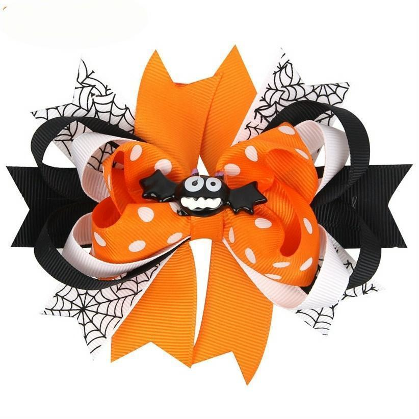 Halloween Hairpin Cartoon Bat Ghost Hair Clips Kids Girls Bows Barrette Headwear