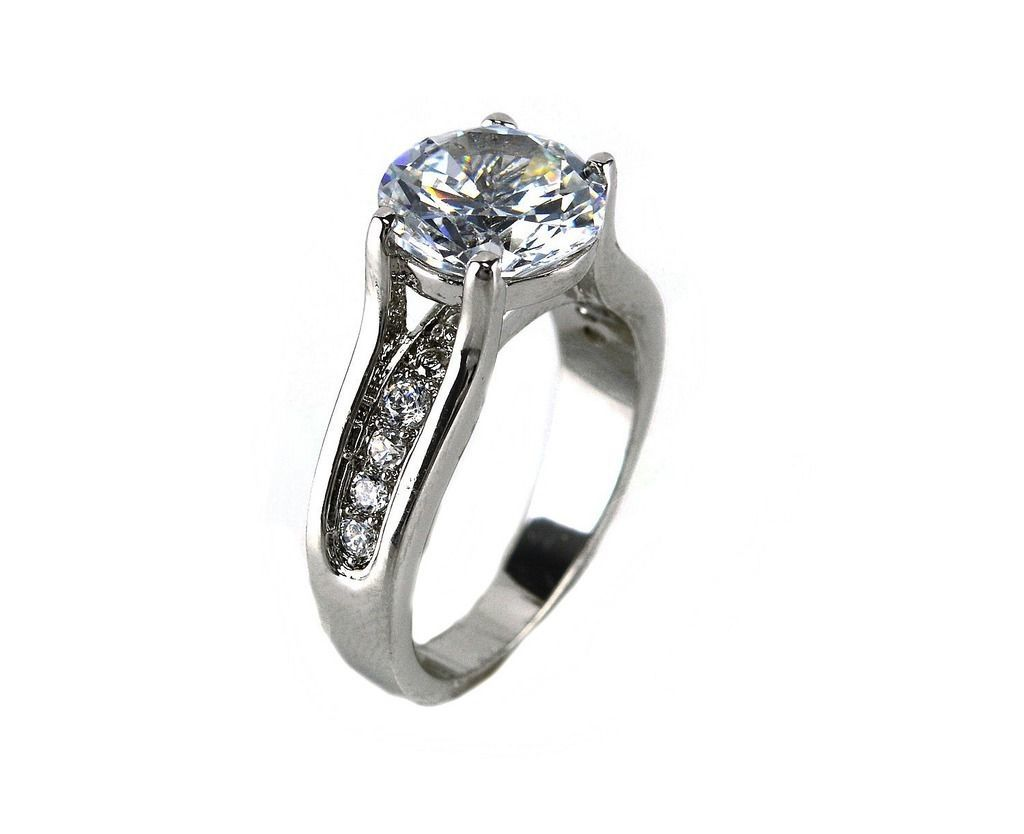 4CTW Prong Set Clear Solitaire With Pave Sides AAA Cubic Zirconia Ring-Rhodium - $24.99