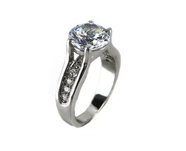 4CTW Prong Set Clear Solitaire With Pave Sides AAA Cubic Zirconia Ring-R... - $24.99